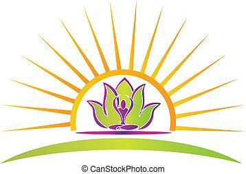 Sonne, Lotus und Yoga-Figur