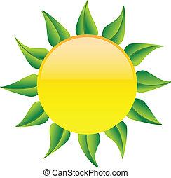 Sonne mit grünen Blättern