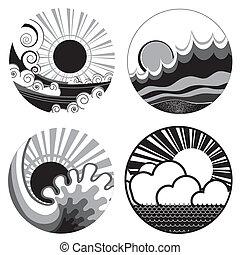 Sonne und Seewellen. Vektorschwarze, weiße grafische Ikonen der Illustration von Seehafen