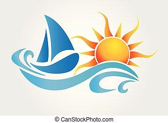 Sonne und Wellenboot Logo Vektor.