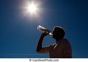 sonne, wasser, abgefüllt, unter, trinken, mann