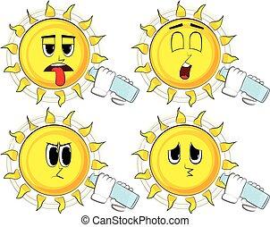 sonne, wasserglas, bottle., trinken, karikatur