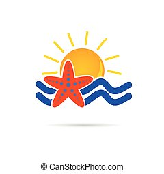 Sonnen-Icon mit Seestern-Farbvektor.