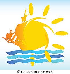 Sonnen- und Bootszeichen Vektorgrafik.