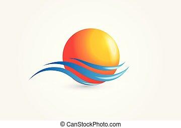 Sonnen- und Wellenlogovektoren.