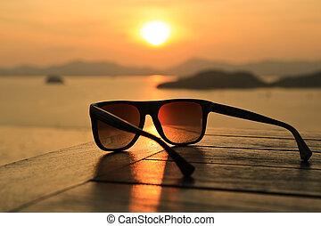 sonnenbrille, sonnenuntergang