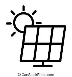 sonnenkollektoren, generator, macht, icon.
