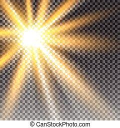 sonnenlicht, durchsichtig, vektor