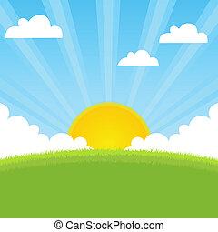 Sonnenscheinfederlandschaft