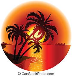 Sonnenuntergang auf einer tropischen Insel