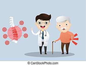 sorgend, über, patient, illustration., sie, doktor, senioren, symptoms., sprechende , vektor, altes , osteoporosis., elderly., mann