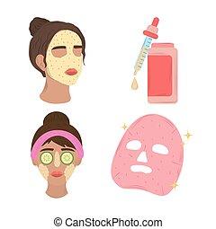sorgfalt, gesicht, bewerben, produkte, frauen, haut, kosmetisch, serum, routine