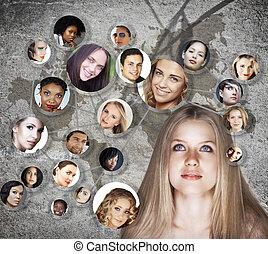 sozial, frau, vernetzung, junger
