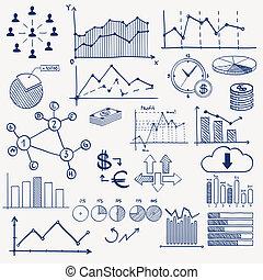 sozial, infographics, ziehen, geschäftsführung, finanz, geschaeftswelt, geld, zeichen & schilder, -, torte, medien, hand, tabelle, begriff, schaubild, gekritzel, elements., verdienen, pfeile