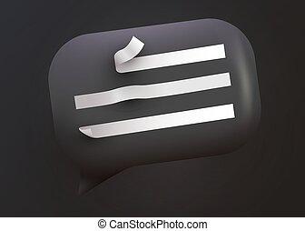 sozial, kommunikation, glänzend, vernetzung, illustration., concept., schwarz, blase, vortrag halten