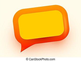 sozial, kommunikation, glänzend, vernetzung, orange, illustration., concept., blase, vortrag halten
