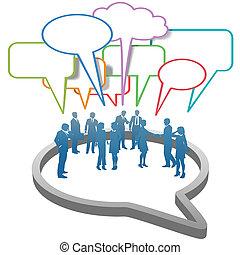 Soziale Geschäftsleute vernetzen sich in einer Sprachblase