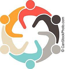 Soziale Leute treffen 6 Logos.