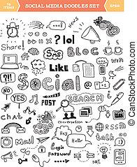Soziale Medien-Doodle-Elemente aufgestellt