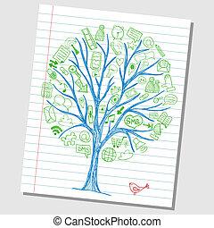 Soziale Medien-Doodles - Hand gemalte Ikonen um Baumskizze