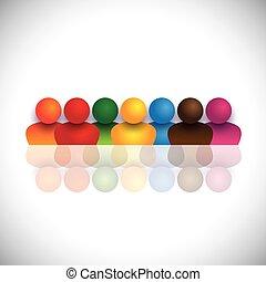 Soziale Medien-Gemeinschaft mit bunten Menschen-Ikonen. Die Vektorgrafik repräsentiert auch Menschen zusammen, soziale Mediengemeinschaft, Schulkinder und Kinder, Mitarbeitertreffen