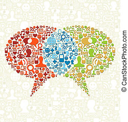 Soziale Medien-Ikone in Blasen