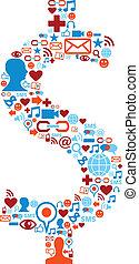 Soziale Medien-Ikonen sind ein Dollar-Symbol