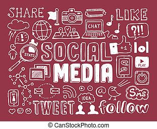 Soziale Medien kritzeln Elemente