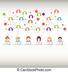 Soziale Medien, Netzwerk-Leute.