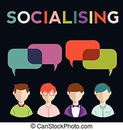 Soziale Medien, Redeblasen mit Menschen.