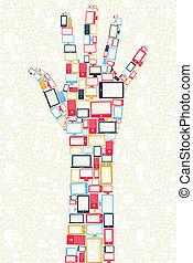 Soziale Medien spielen Ikonen in Handform