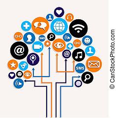 Soziale Medien vernetzen Business-Baum-Plan