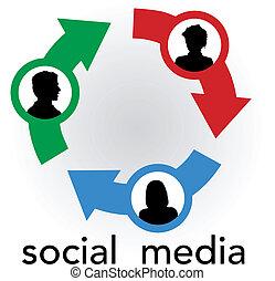 Soziale Medienpfeile verbinden Menschen