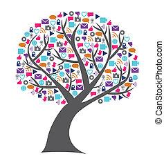 Soziale Technologie und Medienbaum gefüllt mit Netzwerk-Ikonen