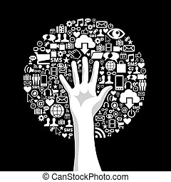 Sozialer Medien-Handbaum