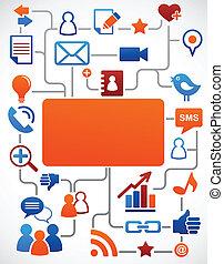 Sozialer Netzwerk-Hintergrund mit Medien-Ikonen