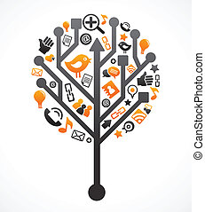 Sozialer Netzwerkbaum mit Medien-Ikonen