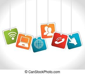 Soziales Mediendesign, Vektorgrafik.
