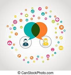 Soziales Medienkommunikationskonzept