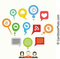 Soziales Mediennetz, abstrakte Redebläschen