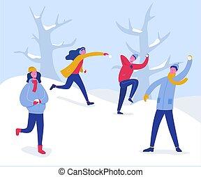 spaß, draußen, activities., winter, leute, werfen, schneeball, mädels, abbildung, haben, snow., knaben, vektor, charaktere, snowballs., joyfull, feiertage, spielende , weihnachten