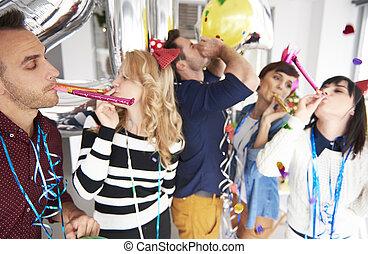 spaß, party, haben, büroleute