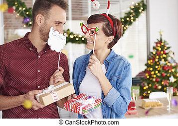 spaß, party, haben, buero, weihnachten