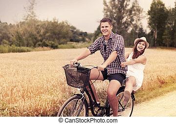 spaß, reiten, paar, fahrrad, haben
