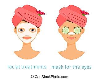 SPA-Behandlungen Vektorkonzept. Illustration von Variationen von weiblichen Gesichtsmasken isoliert auf weißem Hintergrund