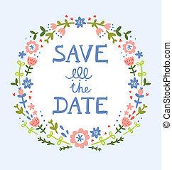 Sparen Sie das Datum Blumenkranz dekorative Komposition.