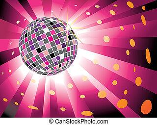 Sparkling-Disco-Ball auf Magenta-Licht-Hintergrund