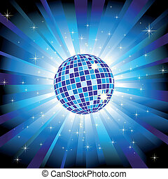 Sparkling-Disco-Kugel auf blauem Licht und Glitzersterne