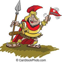 Spartan hält einen Speer
