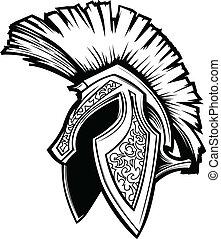 Spartan trojan Helm Maskottchen Vektor